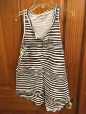 """TOTAL GIRL Tank top sz 14-16  Gray & White strips! Cute """"V""""  cut in front"""