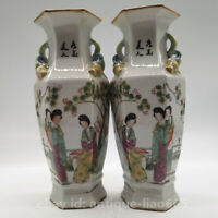 "9.4"" Chinese Famille-rose Porcelain Hand Drawing Woman beauty Hexagon Vase Pair"