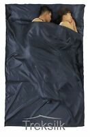 Double NAVY BLUE Silk Liner Sleeping Bag Hostel Sheet Travel Sleep Sack Gap Year