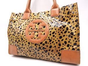 Auth TORY BURCH Logo Leopard Tote Bag Shoulder Bag PVC Brown Gold Hardware V4804