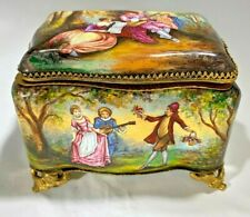 Antique Palais Royale 1850's French  Hand-Painted Enamel & Dore Jewelry Box
