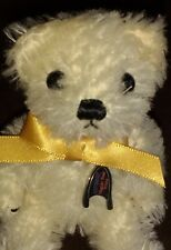 "MERRYTHOUGHT WHITE MAGNET MOHAIR TEDDY BEAR - 4"" - L/E 5/500 - NEW IN BOX"