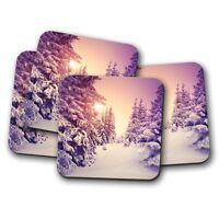 4 Set - Beautiful Pine Forest Coaster - Tree Winter Christmas Skiing Gift #14914