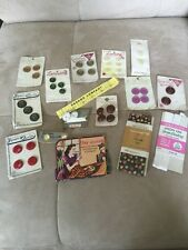 CRAFTS SEWING NOTIONS Large Lot of Vintage  Buttons on Cards GOLD EYE NEEDLES