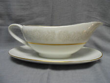 QUEENS BROCADE GRAVY BOAT Attached Underplate Fine China Japan