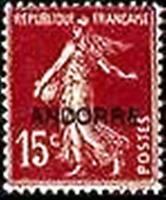 "ANDORRE FRANCAIS YVERT N° 7 "" SEMEUSE SUR FOND PLEIN 15c BRUN LILAS "" NEUF x TB"