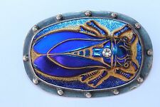 925 Sterling Silver Iridescent Purple Blue Glass Insect Bug 3D Pin Brooch Signed