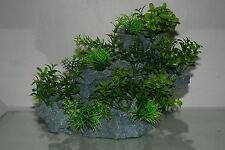 Acuario Grande Rock detallado con diversas plantas Decoración de 29 X 10 X 25 Cm