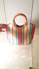 Talbots Womens Striped Hand Bag w/ Rattan Wooden Handles Snap Zippers Preppy