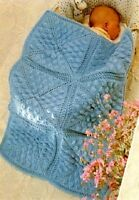 """KNITTING PATTERN -  BABY'S COT/PRAM COVER IN DK WOOL SIZE 20"""" x 30"""" (ADJUSTABLE)"""