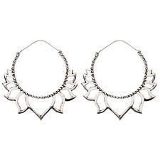 81stgeneration Women's Brass Silver Tone Lotus Flower Ethnic Large Earrings