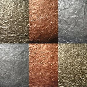10 WHOLE SHEETS luxury tissue METALLIC mulberry CRINKLE paper HAND FINISHED