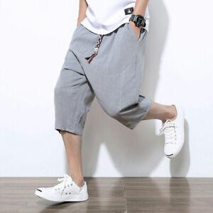 Men Linen Capri Pants Shorts Drop Crotch Harem 3/4 Trousers Crop Shorts Casual