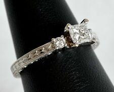 GCA 14K White Gold 0.59 ctw Diamond Engagement Ring 0.47ct Princess Cut Center