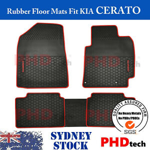 Premium Quality All Weather Rubber Car Floor Mats Fit KIA CERATO 2018-Onward Red