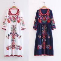 Women Vintage Hippie Ethnic Embroidery Mexican Boho Maxi Tunic Festival Dress