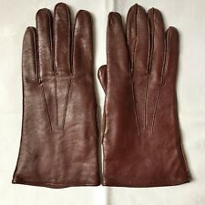 Vintage Brown Leather Gloves With Warm Lining, Beautifully Made. Size 8.5. New