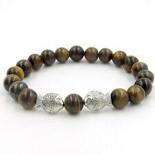 Tiger Eye Gem Alloy Metal Lucky Fish Mala Bracelet Tibet Buddhist Prayer Beads