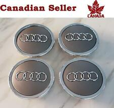 "4 Audi Wheel Center Caps - Mat Grey & Silver Trim - 68 mm (2.75"") - All Models"