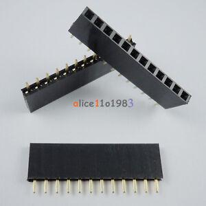 50PCS 2.54mm Pitch 12 Pin Female Single Row Straight Header Strip PH: 8.5mm