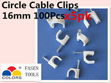 500Pcs 16mm Circle White Cable Clips Cable Plastic Nail