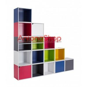 Libreria CUBO Colorata Componibile Modulare Legno MDF Laminato Mobile Scaffale