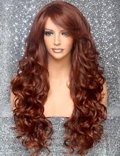 Full Heat OK Curly Long Wig Auburn mix Bangs Layered Hair Piece 33-130 NWT WBBT