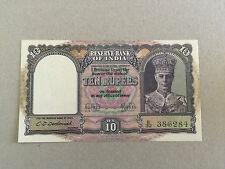 India 10 Rupees P24 King George VI Signed Deshmukh Issued 1943 UNC B32 386284