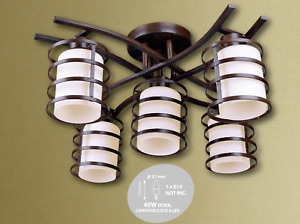 Abakus 5 Way Ceiling Light Chandelier White Glass in Brown Rustic Brass
