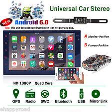 "Quad-Core Head Unit 2Din 7""Android 6.0 Car Stereo GPS Radio iPod USB SD+Camera"