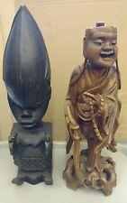 "Vintage Oriental & Aborigines Carved Statues Figures 13""  14"" Lot of 2"