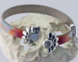 Multicolor Leather Silver Daisy Wrap Bracelet
