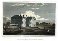 White House Washington D.C. 1856 beautiful engraved print splendid hand color