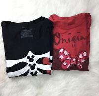 Womens Disney Store Lot 2 Tees Sz 2XL Red Black Short Sleeve Mouseketeer LT9