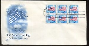 1988 Washington DC The American Flag Definitive Issues Postal First Day Covers