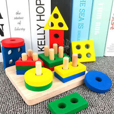 Wooden Building Blocks Puzzle Montessori Educational Toys Baby Children Kids