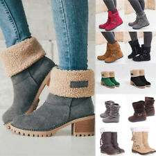 Women Winter Warm Ankle Boots Mid Calf Suede Fur Snow Booties Buckle Shoes