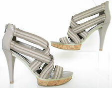 M&S SIZE 5.5 WOMENS NUDE BEIGE STRAPPY ANKLE STRAPS SANDALS SHOES HEELS PLATFORM