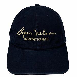 2003 EDS Byron Nelson Invitational PGA Tour Black Gold Strap-Back Cap Golf Hat
