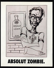 1995 ABSOLUT ZOMBIE - ROB ZOMBIE Vodka Bottle Art - VINTAGE AD