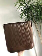Vintage RUBBERMAID 2954 BROWN Ribbed TRASH CAN Wastebasket Mid-Century MCM