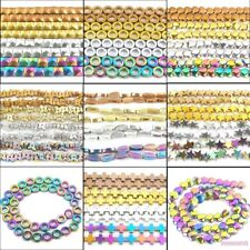 assorted patterns circle heart cross star hematite gemstone spacer beads 16""