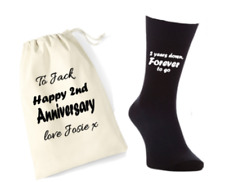 2 years down forever to go 2nd anniversary cotton gift mens socks & gift bag set