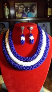AFRICAN BEAD NECKLACES AND EAR RINGS