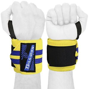 """Gym Weight Lifting Wrist Wraps Power Cotton Bandage Hand Support Straps 18"""" PAIR"""