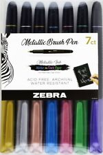 Zebra Metallic Brush Pen Shimmering Color Medium Point 7 pcs