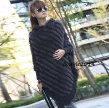 Wide Hooded Lady Women Real Rabbit Fur Knit Cape Cappa Cloak Poncho