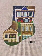 Needlepoint Canvas Christmas Stocking Euro City Scape Buildings EU26 18 Count