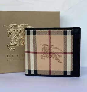 Burberry Bifold Wallet New Leather Checkered Vintage Pattern 100% Genuine New