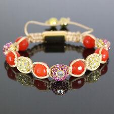 Damen Armreif Rot/Braun, Shamballa Armband,  Zirkon Kristall,verstellbar,Neu
